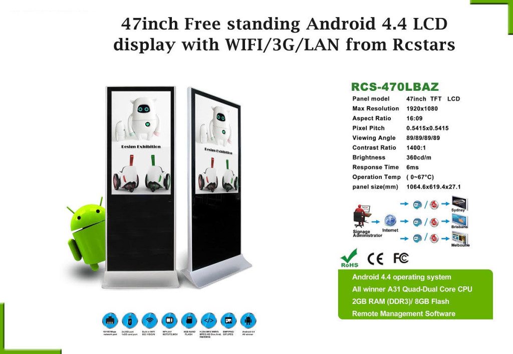 47 inch Free Standing Android 4.4 LCD display